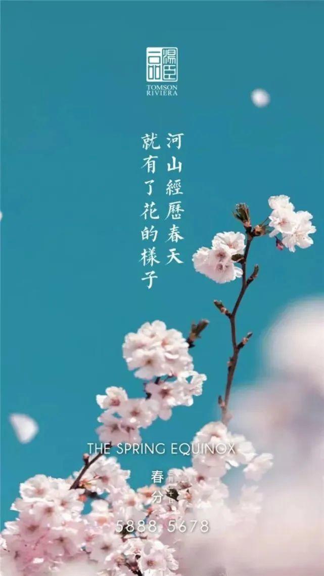 房地产和国内品牌的春分文案分享:  河山经历春天,就有了花的样子。插图